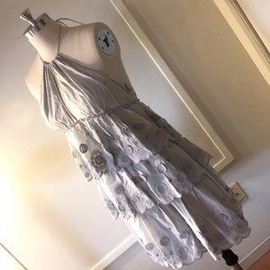 NWT FOLEY + CORINNA szM grey tiered halter dress